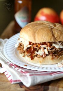 pulled pork and apple slaw cookie and cups